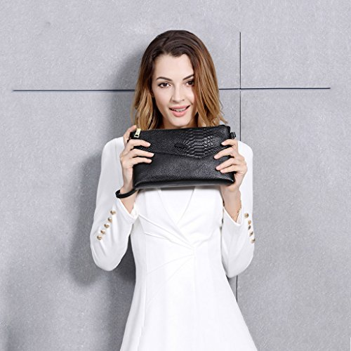 Large First Clutch Leather Messenger Ms The Cowhide Clutch Bag Bag Korean Layer Black Large Leather Color Fashion Capacity Of Small Bag QI Bag Capacity Black Bag Hand DEI wXg1q1