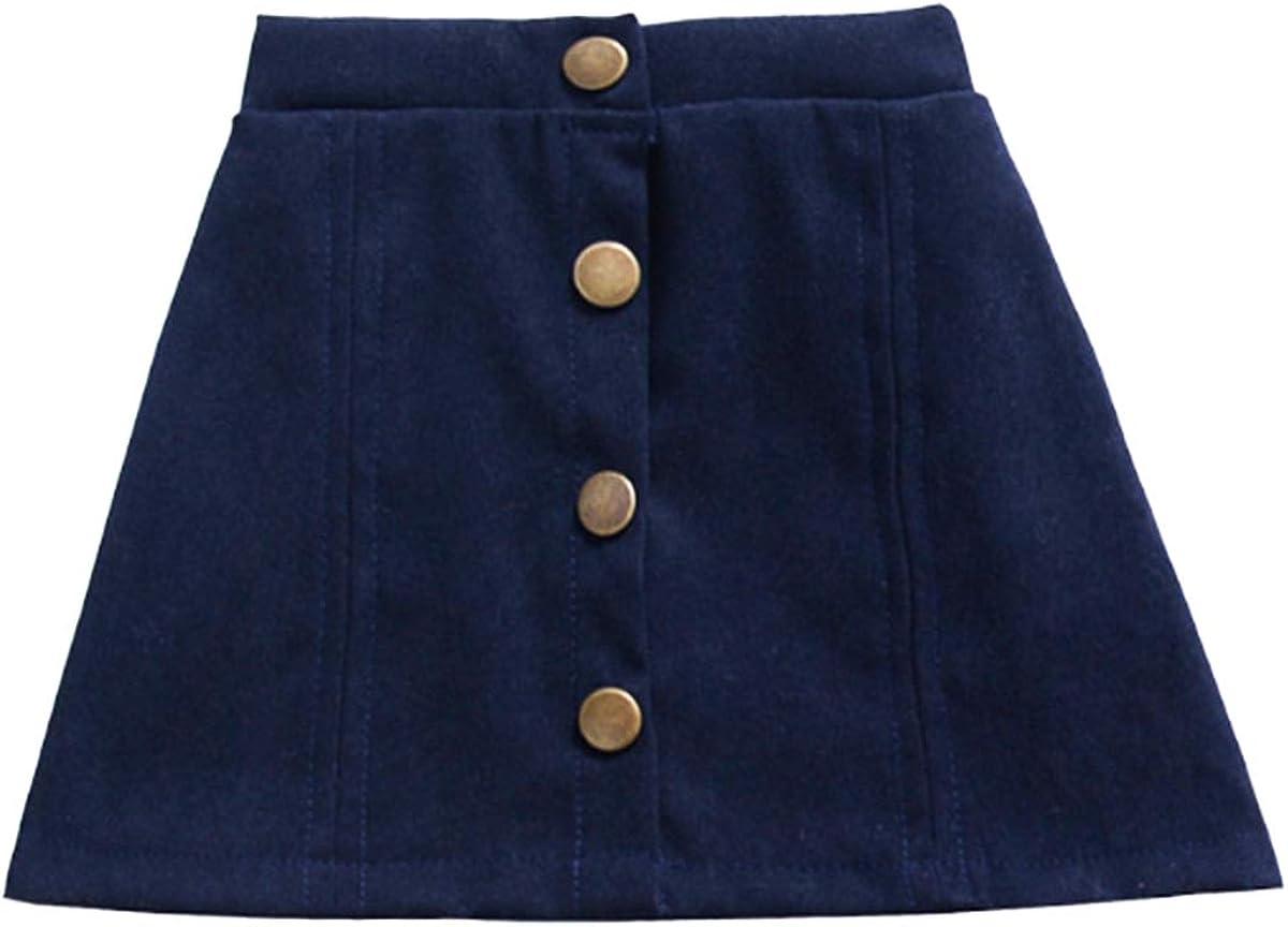 YOHA Baby Girls Cotton Button Closure A-Line Mini Short Skirt Kids Girls Skirt