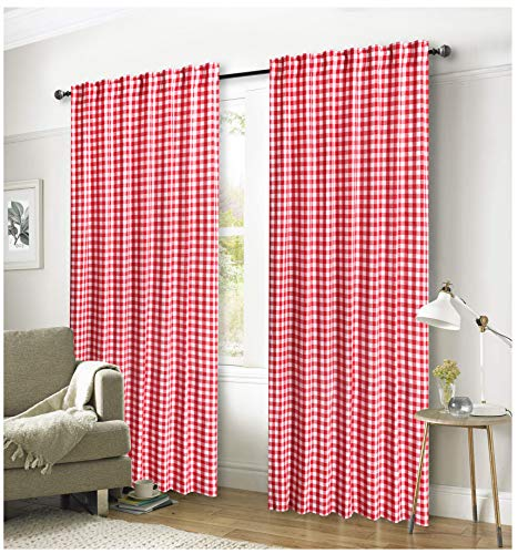 (Ramanta Home Gingham Check Window Curtain Panel, 100% Cotton, Red/White, Cotton Curtains, 2 Panels Curtain, Tab Top Curtains, 50x96 Inches, Set of 2)