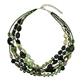 BOCAR Multi Layer 5 Strand Statement Collar Beaded Necklace for Women Gift (NK-10376-green)