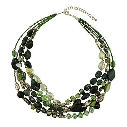 BOCAR Multi Layer 5 Strand Statement Collar Beaded Necklace for Women Gift (Casual Green Necklace)
