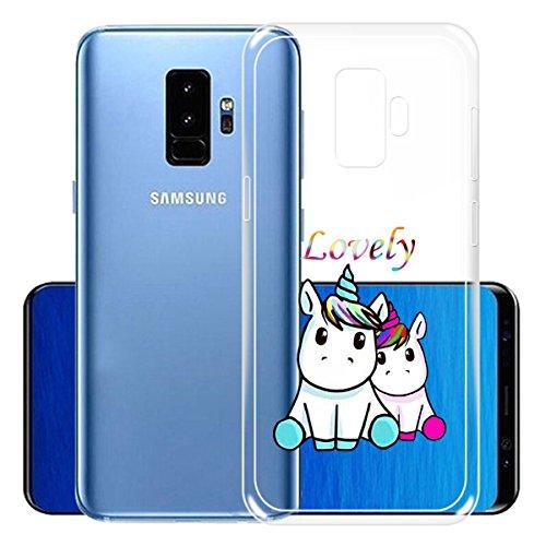 Funda para Samsung Galaxy S9 Plus , IJIA Transparente Muchacha Romántica Falda Colorida Mariposa TPU Silicona Suave Cover Tapa Caso Parachoques Carcasa Cubierta para Samsung Galaxy S9 Plus (6.2) WM138