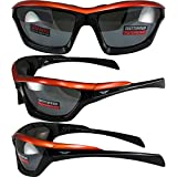 Global Vision Fast Track Motorcycle Sunglasses Orange, Black, Silver Three-Color Design Frames with Flash Mirror Lenses
