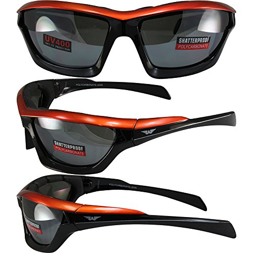Global Vision Fast Track Motorcycle Sunglasses Orange, Black, Silver Three-Color Design Frames with Flash Mirror - Track Fast Eyewear