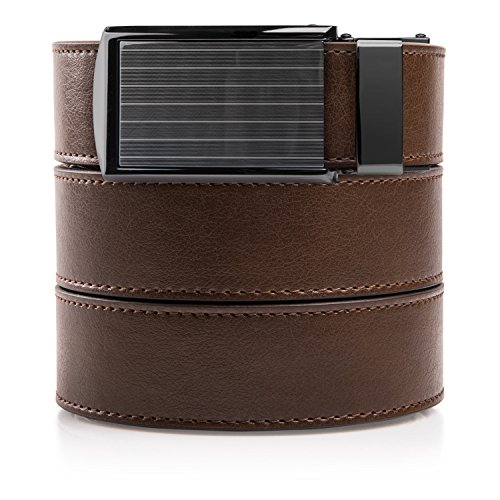 SlideBelts Men's Classic Belt with Premium Buckle (Mocha Brown Leather With Pinstripe Buckle (Vegan), One Size)
