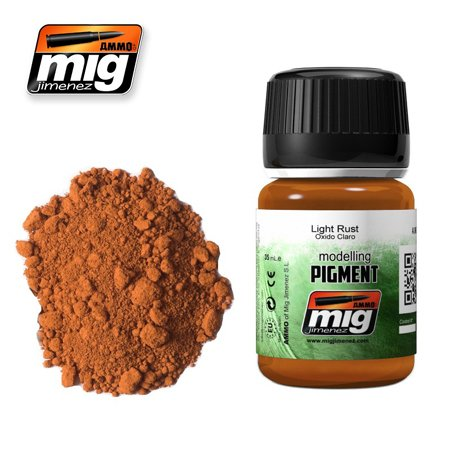 Rusts Pipes (AMMO MIG JIMENEZ LIGHT RUST PIGMENT FOR Rusty vehicles, exhaust pipes 35ml A.MIG 3006)
