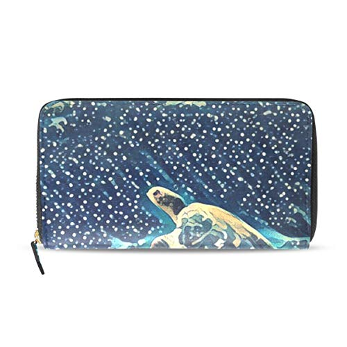 Womens Wallets Sea Turtle Coral Leather Passport Wallet Change Coin Purse Girls Handbags ()