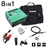 portable air compressor charger - jfegwo Portable 12V Jump Starter with Air Compressor, 450 Peak 120 PSI 13000 mAh Rechargeable Lion Car Battery Jump Pack, Smart Jump Cable with Double USB Ports and Double LED Flashlight, by JF.EGWO