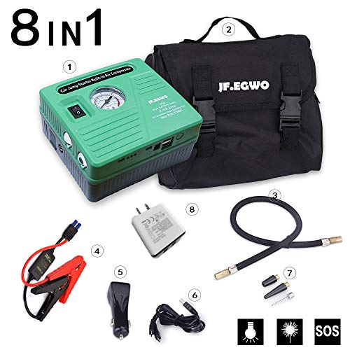 arter with Air Compressor, 450 Peak 120 PSI 13000 mAh Rechargeable Lion Car Battery Jump Pack, Smart Jump Cable With Double USB Ports and Double LED Flashlight, by JF.EGWO ()