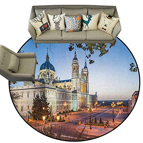 Circular Non-Slip Mat Printed, European,Old Cathedral and Royal Palace in Madrid Mediterrenean City Europe Urban Print, Multicolor,Rug Accent Mat for Livingroom Diningroom Bedroom, 4