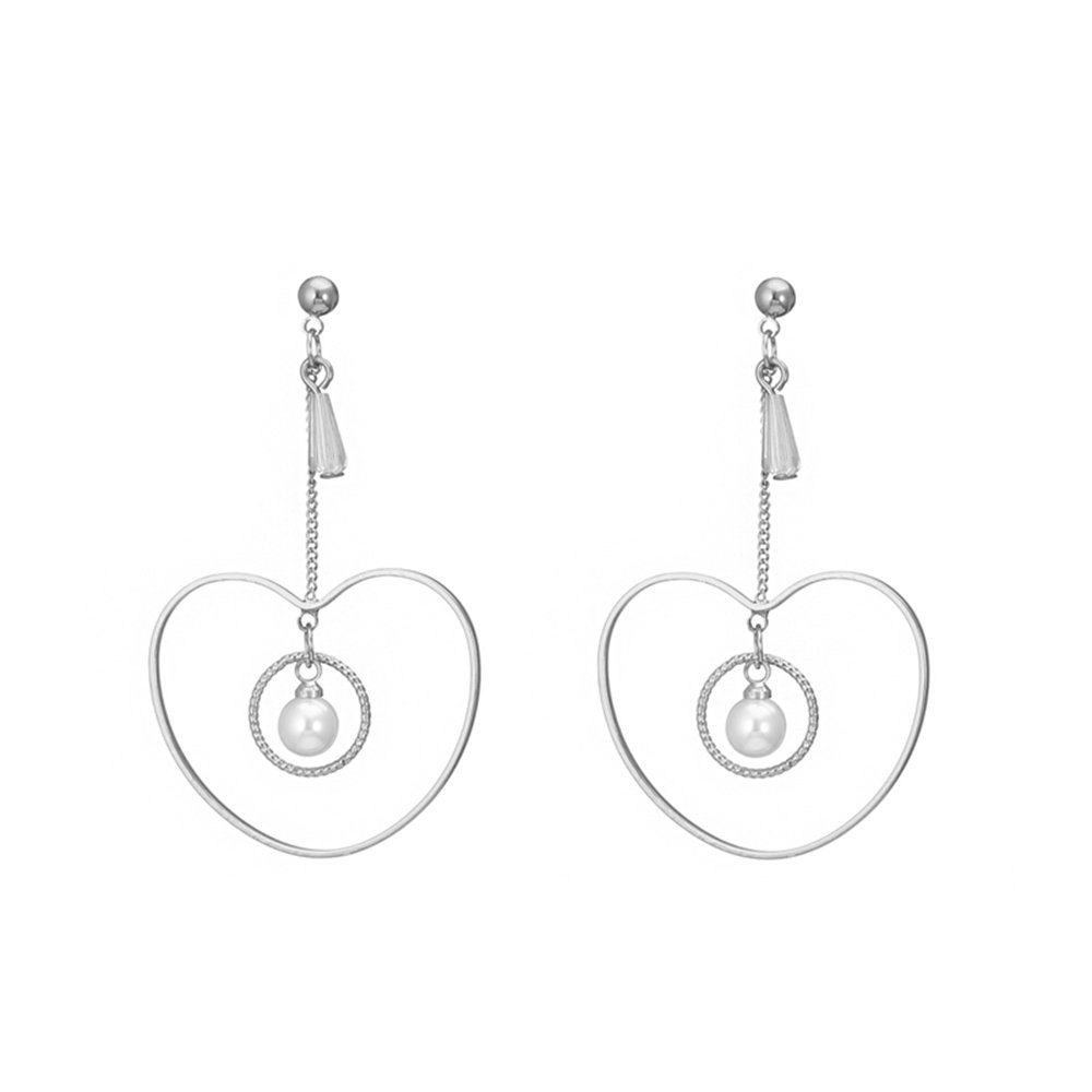 Stud Earrings for Women,Created Pearl Dangle Earring for Girls Gold and Silver Earring with CZ Crystal