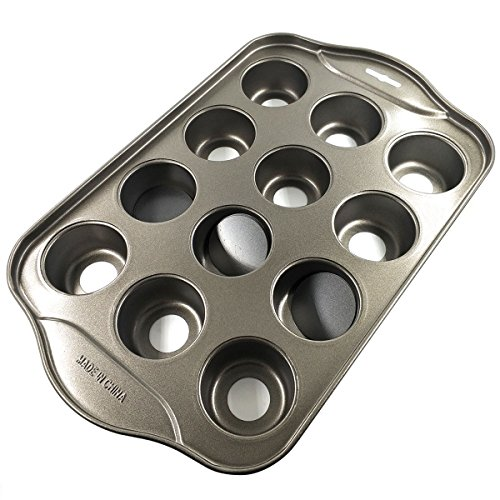 DayCount Removable Bottom Round Muffin Pans 12 Holes Non-stick Cake Mold for Cake Chocolate Egg tart & Others Bake Food 13''