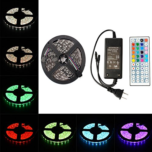 elcPark 5M/16.4FT RGB Changing Color LED Strip Light + DC 12V Power (Power Conditioner Light Module)