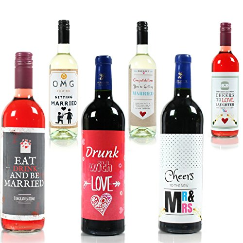 Wine Bottle Wedding Labels for Engagement Party, Wedding Day, Bridal Shower, Bachelorette Party – The Perfect Gift!
