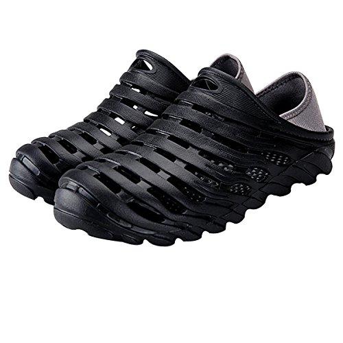 - Men Fashion Hollow Out Sandals Flip Flops Holes Openwork Shoes Wading Shoes Summer Beach Slippers Black 44(Men US 9.5)