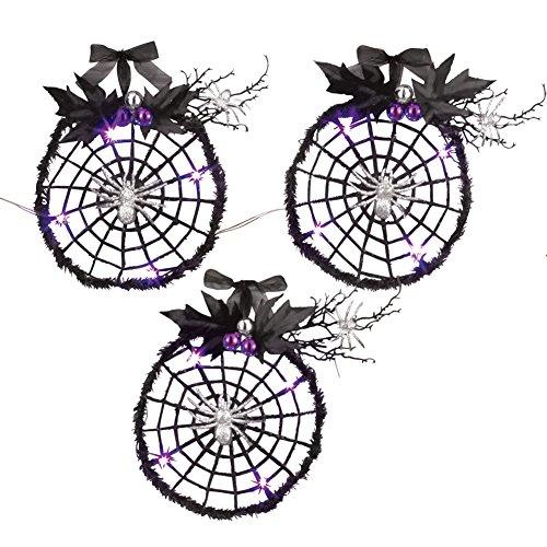 Lighted Purple Spiderweb Wreath Decor - Set Of 3 (Lighted Spider Web)