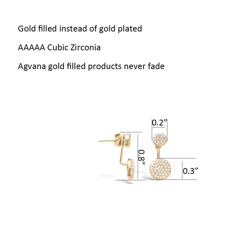 Agvana Yellow Gold Filled Cubic Zirconia CZ Double Round Stud Earrings Fashion Jewelry Gifts for Women Girls Height 0.8
