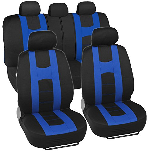 Rome Sport Auto Seat Covers for Car SUV Sedan- Sporty Racing Style Stripes - Split Bench 11 Pieces (Black & Blue)