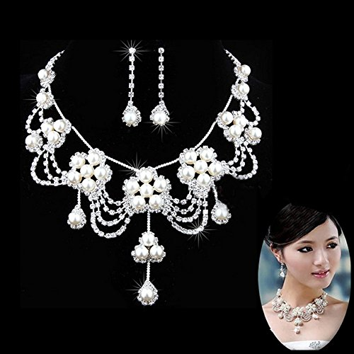 LING'S SHOP Charm Wedding Bridal Crystal Rhinestone Pearl Pendant Necklace Earring Plated Jewelry (Set Of Jewelry)