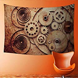 Printsonne Tapestry Wall Tapestry Steampunk from Mechanical Clocks Details Over Old Metal Art Wall Decor 80W x 60L Inch