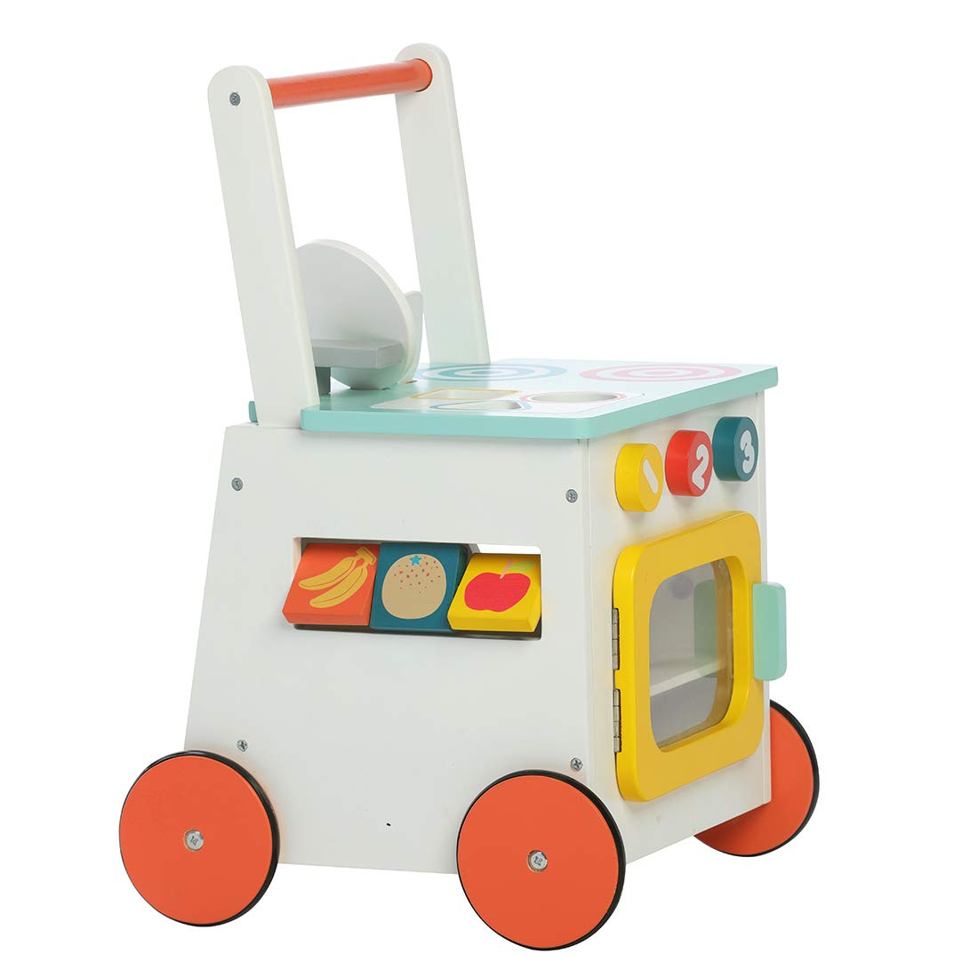 labebe Children 2-in-1 Little Play Kitchen Wooden Push Walker Toddler Push /& Pull Toys Activity Walker Stroller Walker Toy Wagon with Wheels for Baby Girls Boys 1-3 Years Old