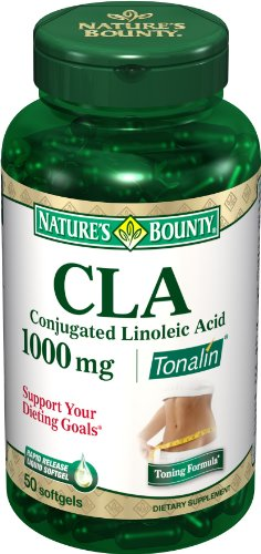 Nature Bounty CLA Tonalin 1000 mg Capsules, 50-Count