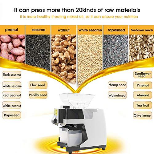Máquina de Prensa de Aceite 550W Inteligente Automático Extractor de Aceite Prensa Fría/Aaliente con Función de Aviso Voz Expulsor de Prensa para Cacahuetes ...