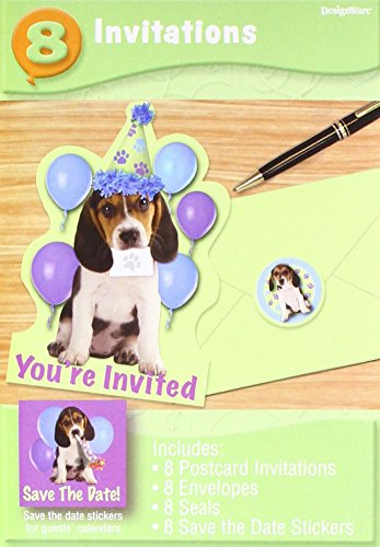 Amscan Cute Pups Invitations Birthday Party -