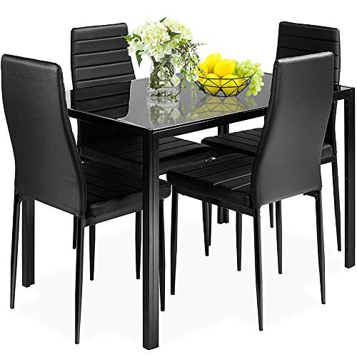 DORTALA 5 Piece Dining Table and Chairs Set, Metal Frame Home Kitchen Dinette Dining Room Furniture for 4 Person, Modern…