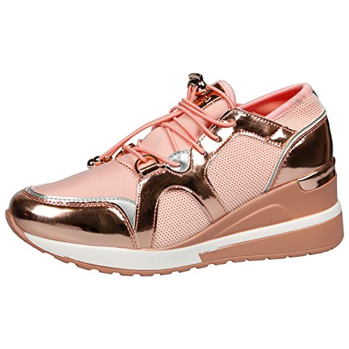 Feet First Fashion Felicity Ladies Flats Pumps Toggle L Pink/Rose Gold 3 UK/36 EU (Felicity Shimmer)