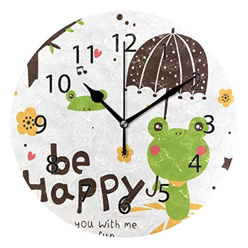(LONK Wall Clock,Round 10 Inch Diameter Silent Happy Frogs Rainy Day Waiting Decorative for Home Office Kitchen Bedroom)