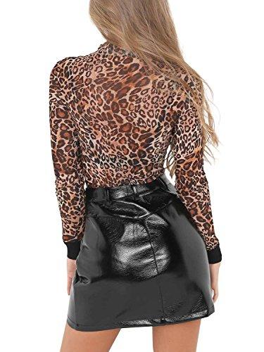 Noir Zipp avec Clubwear Casual Cuir Mini en Jupe Apparel Sexy Hiver Autumn Soire Poche Simplee Faux Femme Jupe Crayon Party qzAS8wH4
