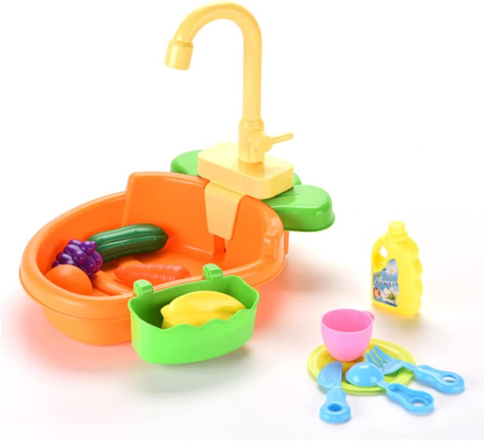 ZXSXRQPA Kitchen Sink Toy with Play Foods, cocina para niños con agua,Children Electric Dishwasher Playing Toy with Running Water, Pretend Toy with Automatic Water Cycle System for Toddlers (Orange)