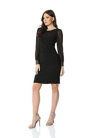 28b21dcedb5 Roman Originals Women Embellished Cuff Evening Dress - Ladies Little Black  Dress LBD Evening Christmas Party Chiffon Sheer Long Sleeve Round Neck  Classic ...