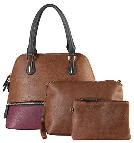 diophy-fashion-two-tone-bowling-satchel-bag-3-piece-set-se-3390-brown