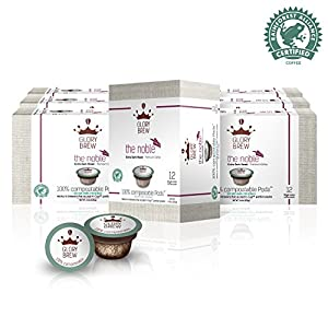 GLORYBREW - The Noble- 108 count 100% Compostable Coffee Pods for Keurig K-Cup Coffee Brewers- Rainforest Alliance certified– Extra Dark Roast | Better than Recyclable and Biodegradable Coffee Pods