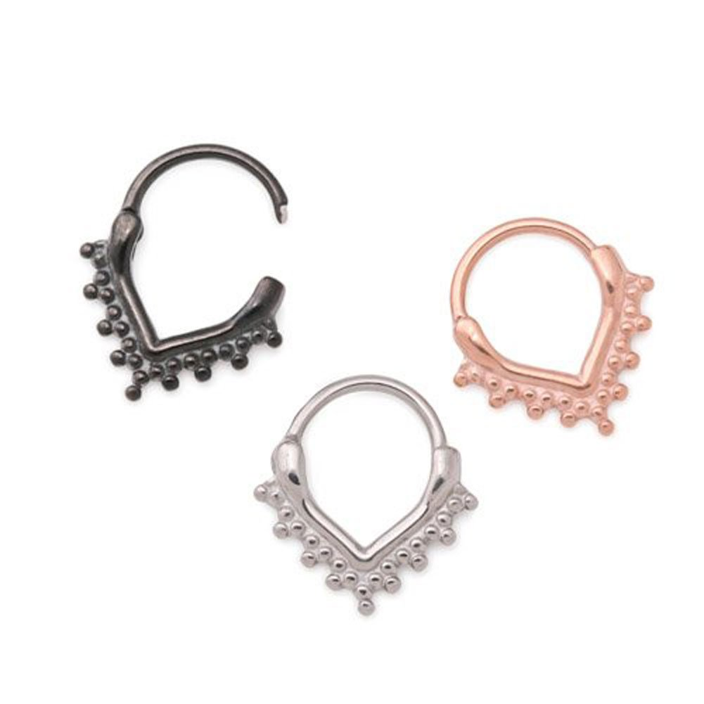 Painful Pleasures 16g Steel Septum Clicker /— V-Shaped Ring with Clustered Beads /— Price Per 1