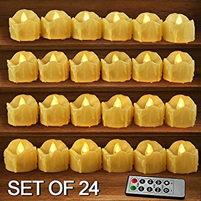 HOME MOST 12-Pack LED Votive Candles with Timer - LED Flameless Flickering Votive Candles Battery Operated - Decorative Votive Candles Unscented - Votive Candles Bulk for Wedding and Church