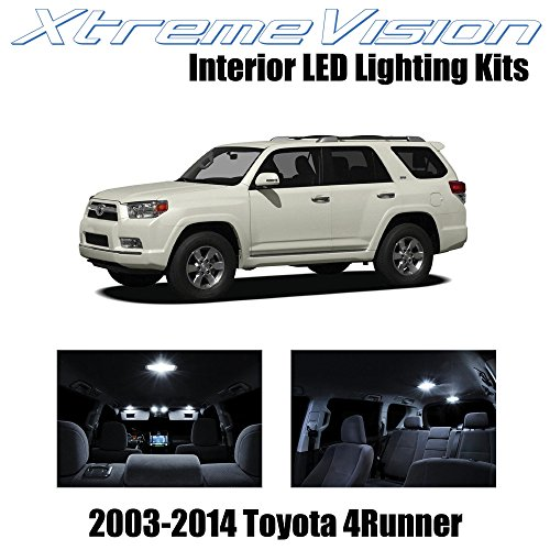 (XtremeVision Interior LED for Toyota 4Runner 2003-2014 (12 Pieces) Pure White Interior LED Kit + Installation Tool)
