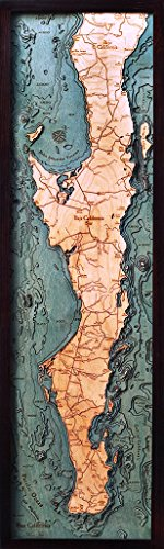 Woodchart Baja Peninsula 3-D Nautical Wood Chart, 13.5-Inch x 43-Inch ()
