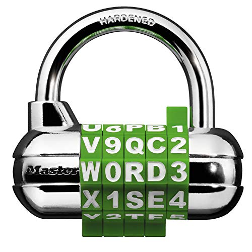 Master Lock 1534D Set Your Own Word Combination Padlock, 1-Pack, Assorted Colors