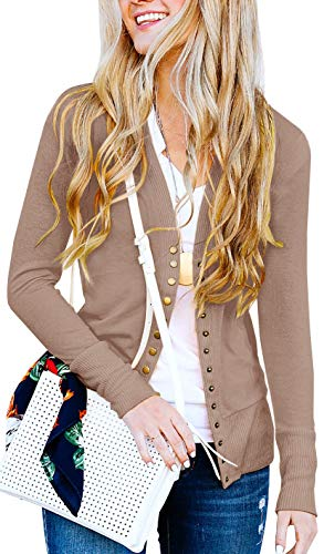 - NENONA Women's V-Neck Button Down Knitwear Long Sleeve Soft Basic Knit Cardigan Sweater(Mocha-M)