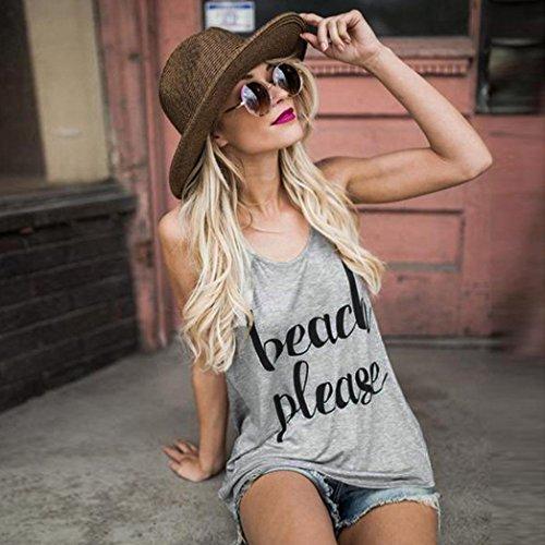 1b5f4ca77b Kimloog Women s Scoop Neck   Beach Please   Letters Print Crop Tank Tops  Sleeveless Casual Cotton Vest at Amazon Women s Clothing store