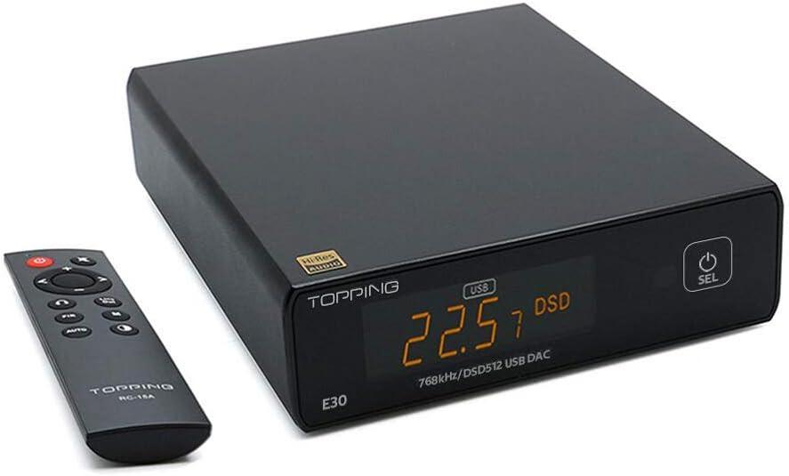 TOPPING E30 Hi-Res DAC AK4493 32Bit/768kHz DSD512 HiFi XMOS XU208 Stereo Digital Audio Decoder (Black)