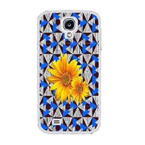 Unique Geometric Design Hard Protective Skin Case Cover for Samsung Galaxy S4 I9500 ,Wood Pattern Print Cell Phone Case (sunflower white ju5244)