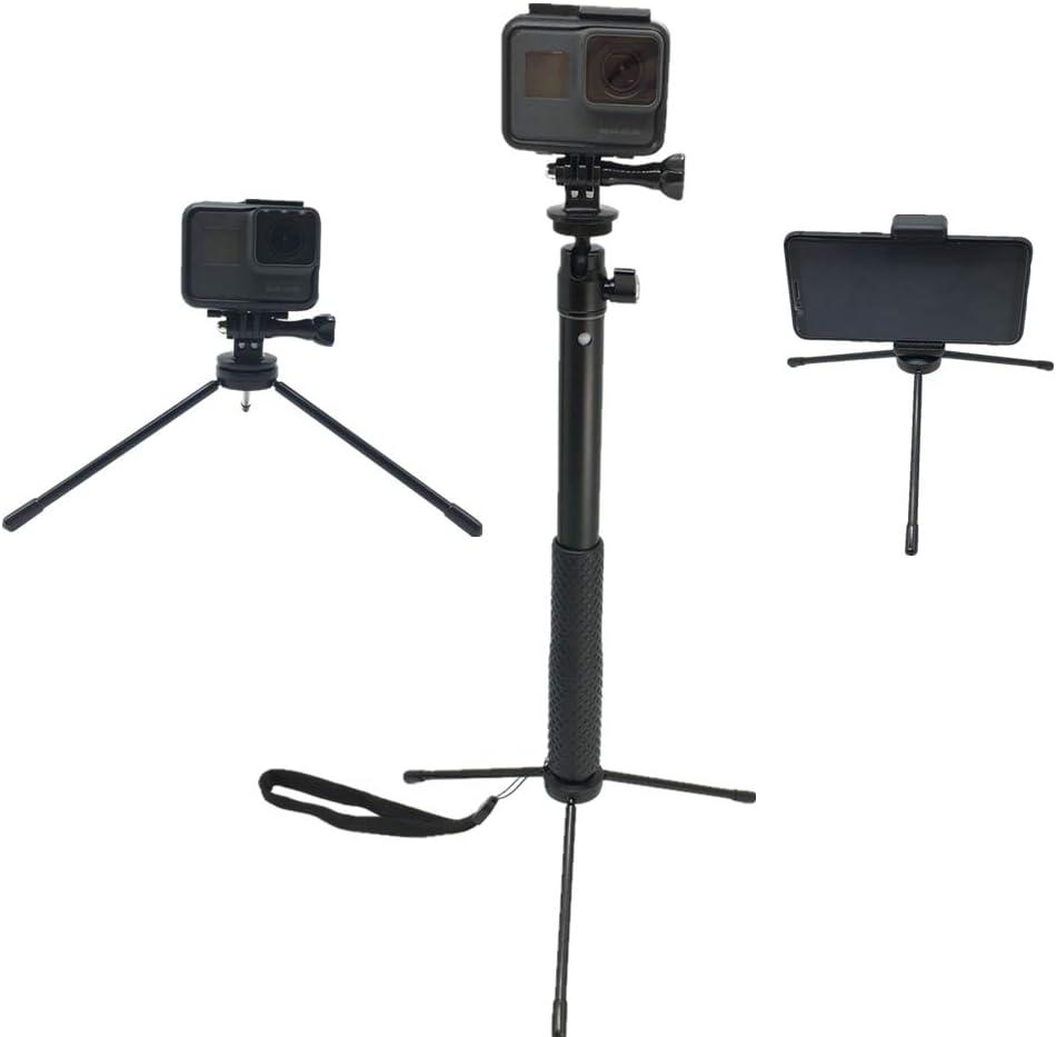 2018 Extendable Aluminum Selfie Stick Handheld Monopod Tripod Mount Compatible for GoPro Max//Hero 8//7//6//5//4//3+//GOPRO Hero //AKASO GeekPro SJCAM EKEN h9r Xiaomi Yi Camera Action Camera