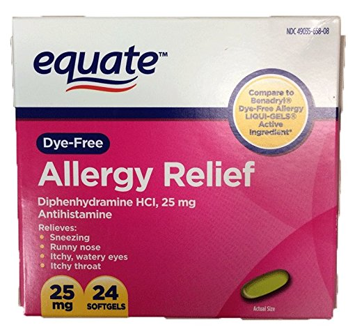 Free Allergy Relief Liqui Gels (Dye-Free Allergy Relief, Diphenhydramine HCl, 25mg, 24ct, by Equate, Compare to Benadryl Dye-Free LIQUI-GELS)