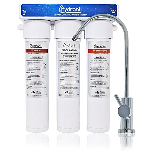Hydranti Cobalt 3-Stage UF Under Sink Water Filtration System with 3 Cartridges - Home or Office Water Purification System - Chrome Faucet Design – Quick Installation Kit by Hydranti