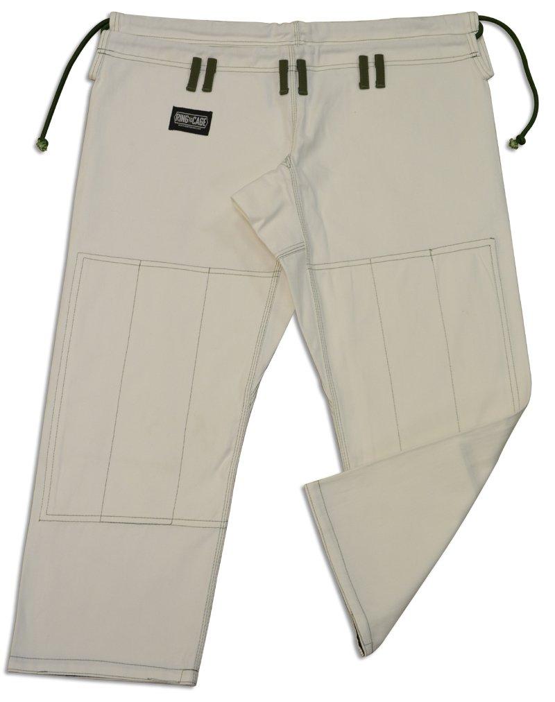 Ultra soft heavy duty 14oz twill cotton brazilian jiu jitsu pants, white blue and black color (White, A4)