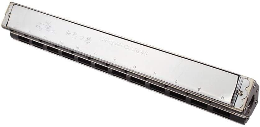 DCSPD Harmonica、48セット、Double Combined Chord Harmonica、Band Ensemble Dedicated、Semi-enseh Harmonica (Color : Silver)